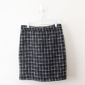 Banana Republic Tweed Black White Pencil Skirt